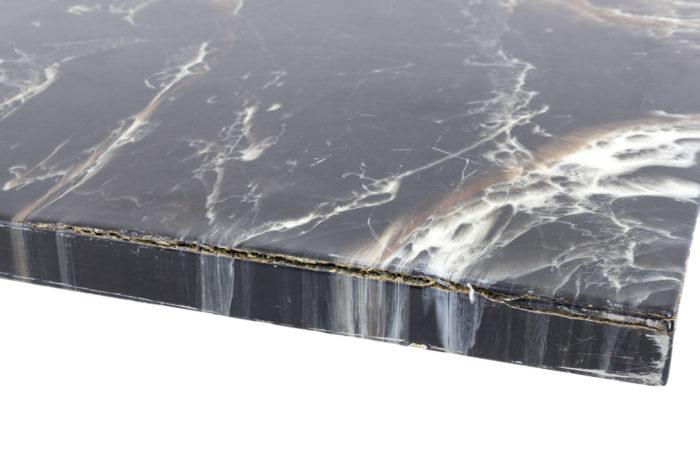 table basse bakélite métal chromé fissure