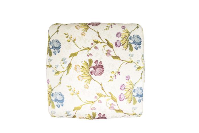 tabouret style louis xv bois doré assise tissu fleurs