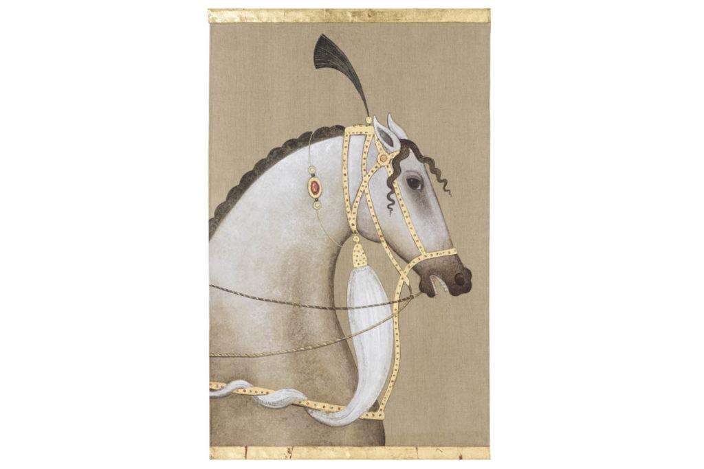 Toile peinte, Cheval pur-sang arabe blanc, travail contemporain