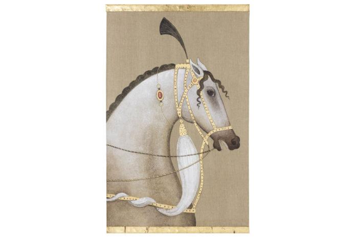 canvas horse arabian white
