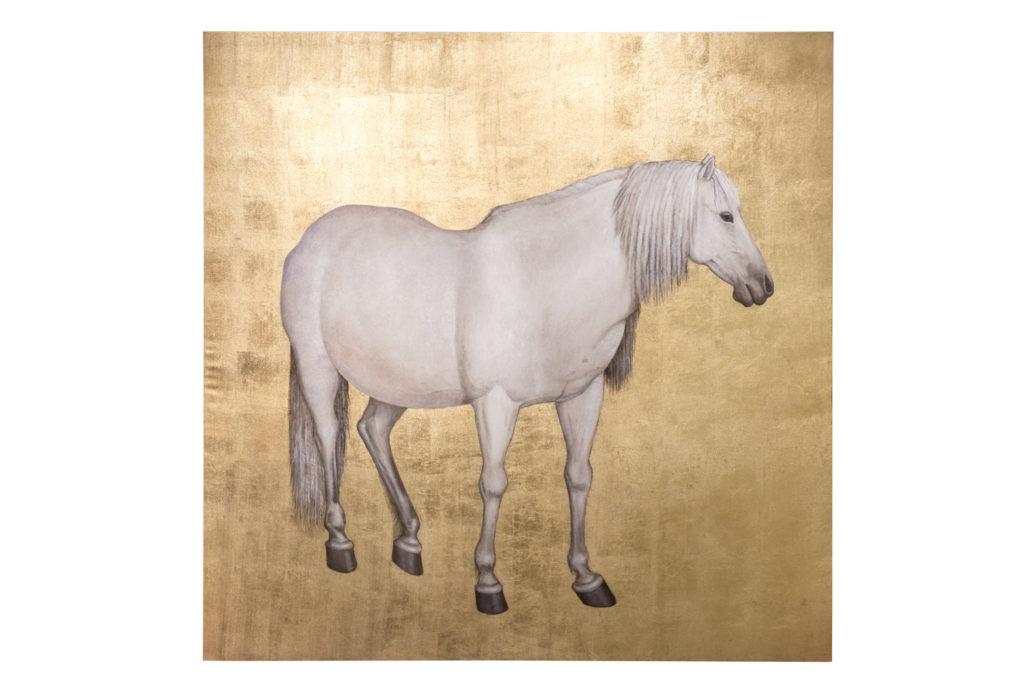 Toile peinte, Cheval blanc sur fond or, travail contemporain