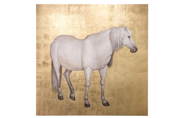 canvas horse white gilt background