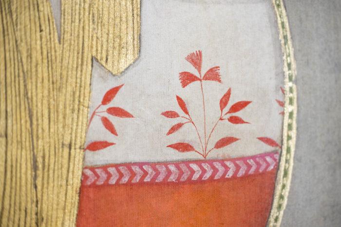toile cheval feuilles orange
