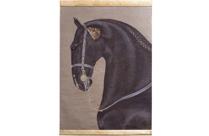 canvas horse black blue yellow harness
