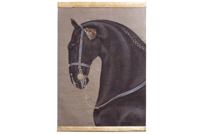 toile cheval noir harnais bleu jaune