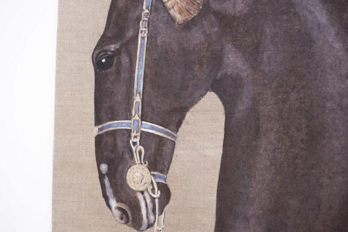 toile cheval noir tête