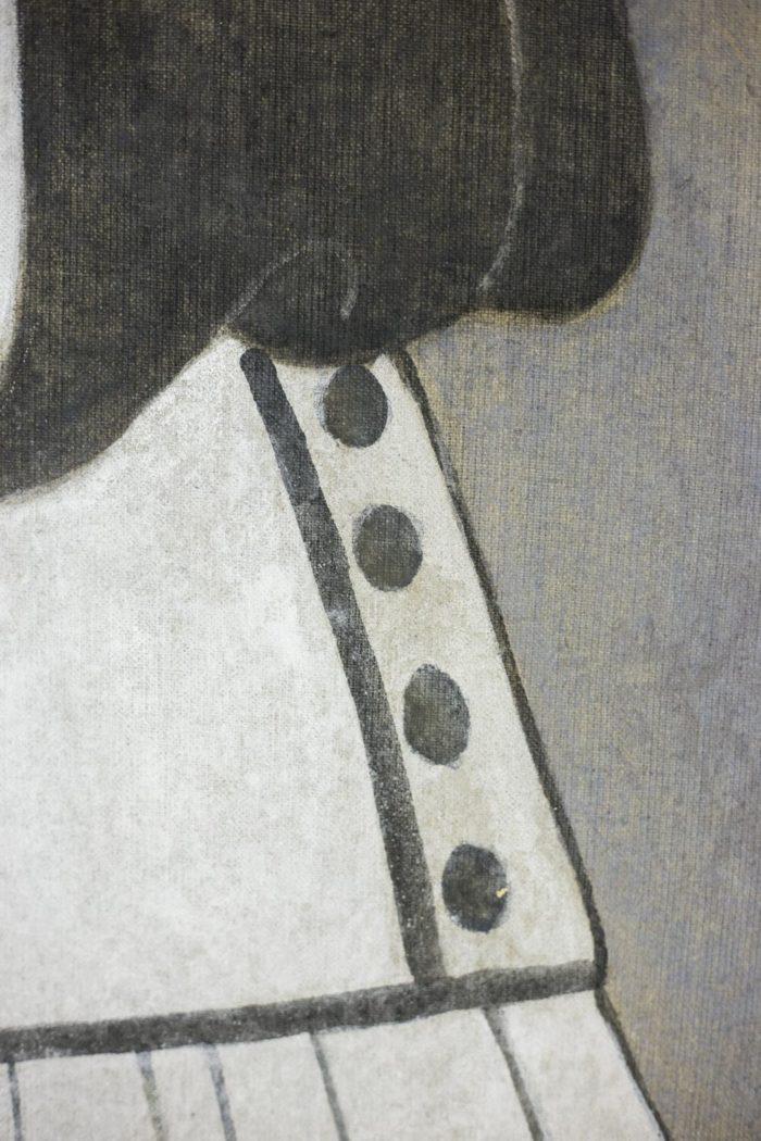 toile femme art déco boutons