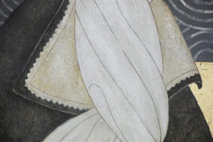 canvas art deco woman collar