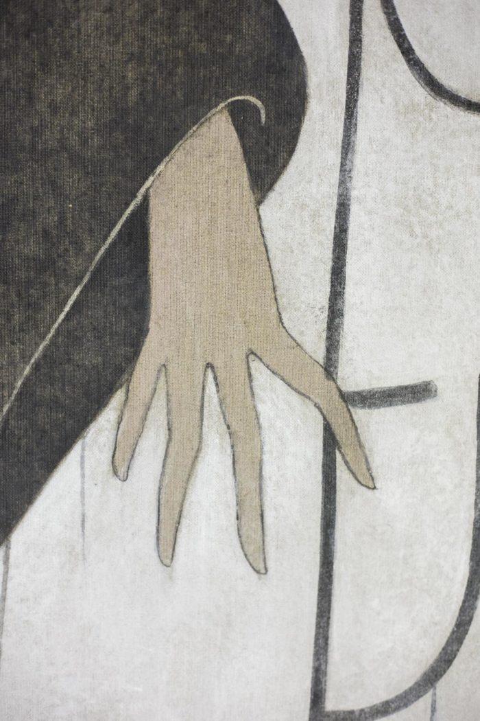 toile femme art déco main