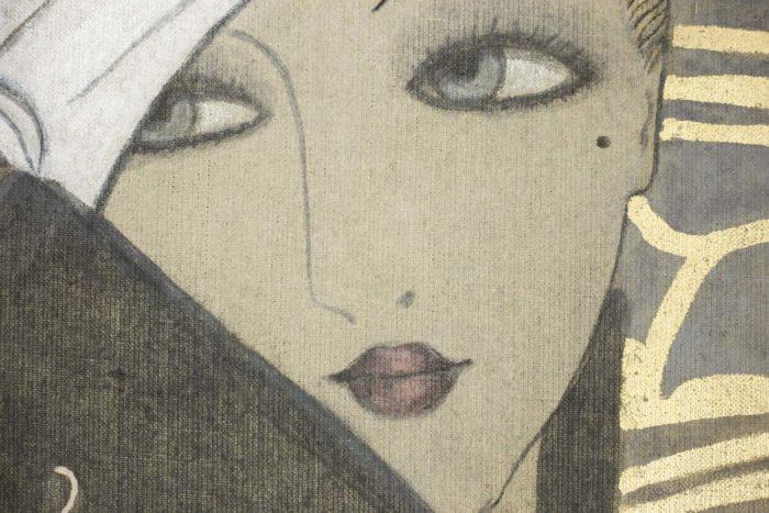 toile femme art déco visage détail