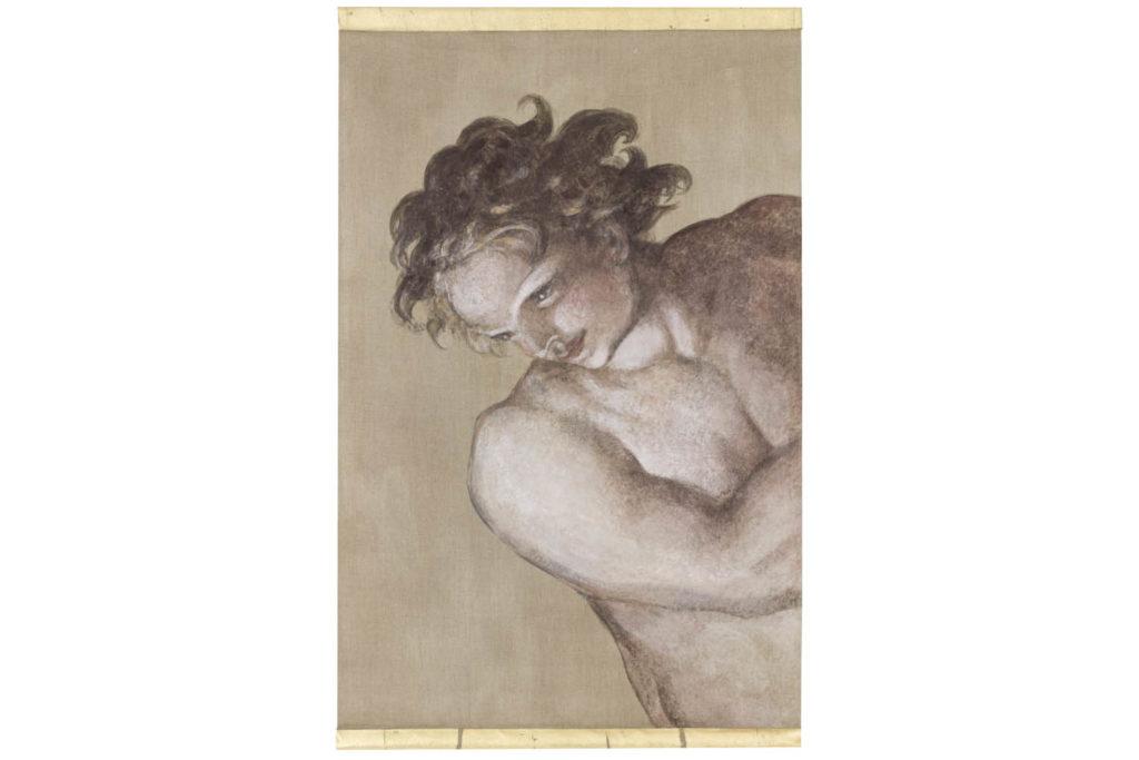 Toile peinte, Homme style Michel-Ange, travail contemporain