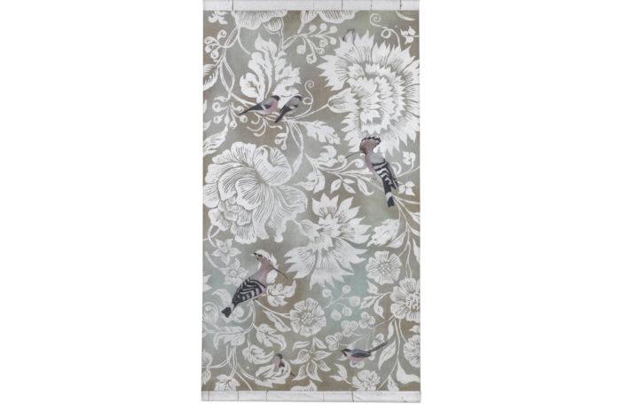 canvas birds silvered scrolls