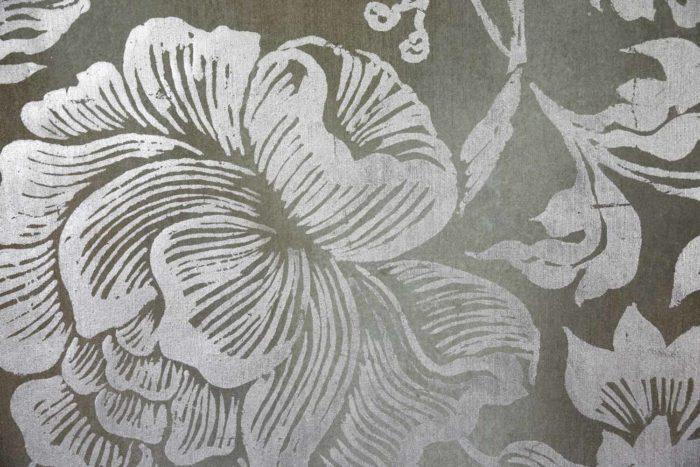 toile oiseaux feuillages fleurs argentées
