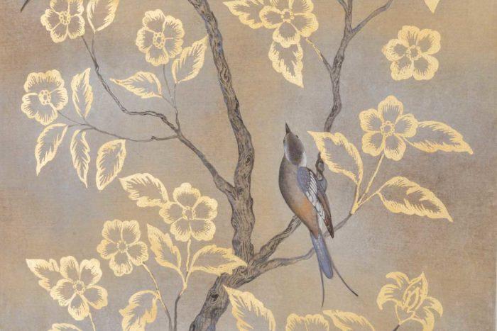 toile oiseaux feuilles fleurs or