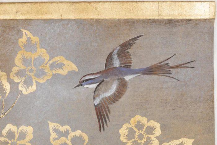 toile oiseaux fleurs or