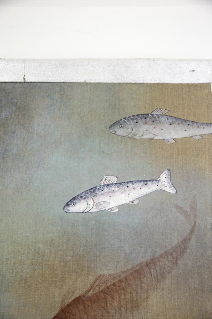 toile poissons argentés et orange