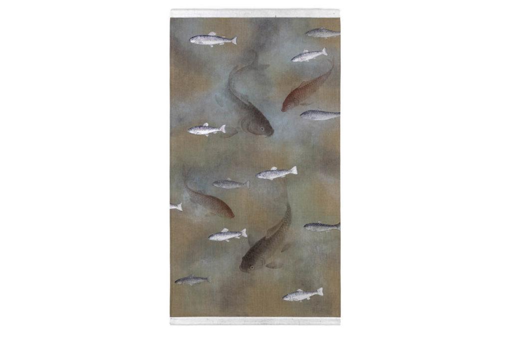 Toile peinte figurant des poissons, travail contemporain