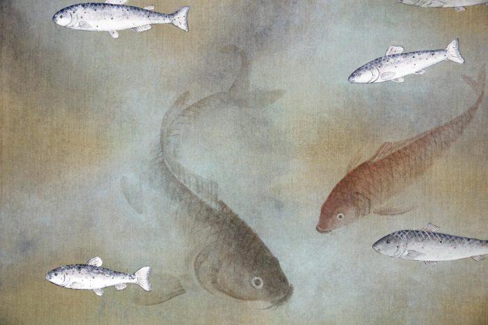 toile poissons carpes nageant