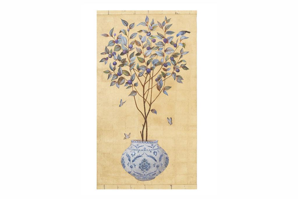 Toile peinte, Prunier et papillons, travail contemporain
