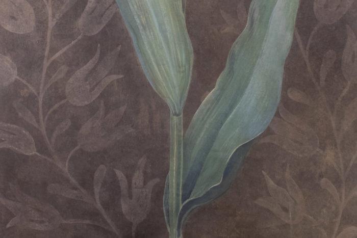 toile tulipe fond brun