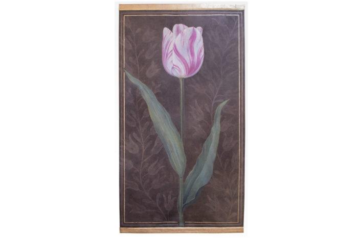 toile tulipe rose fond brun