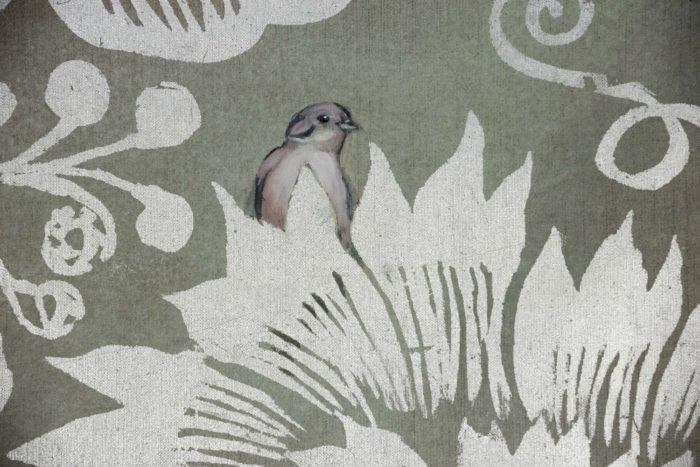 toiles oiseaux feuilles argentées