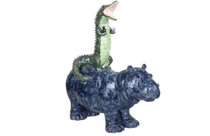 valérie courtet sculpture crocodile hippopotamus