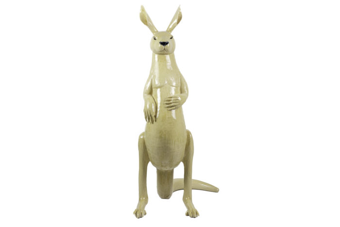 valérie courtet sculpture kangourou grès émaillé front