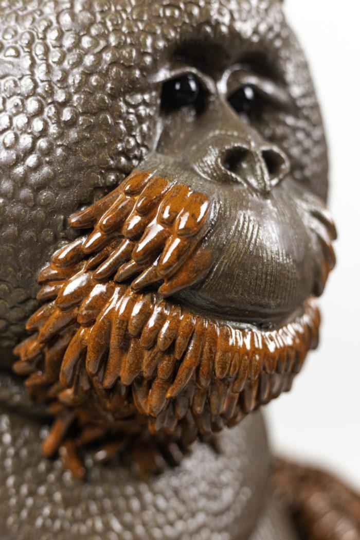 valérie courtet sculpture orang outan détail