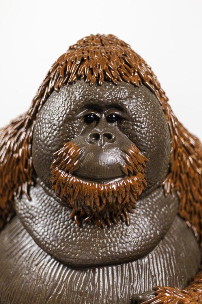 valérie courtet sculpture orang outan tête