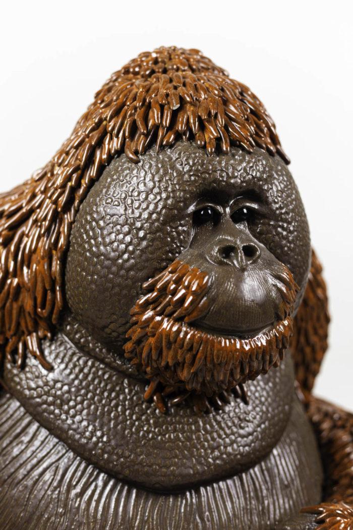 valérie courtet sculpture orang outan visage
