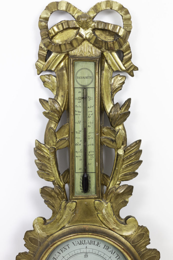 louis xvi barometer gilt wood scrolls