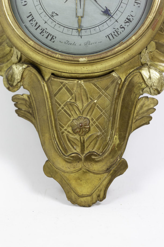 louis xvi barometer gilt wood volutes
