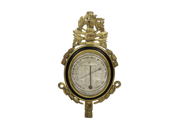 louis xvi barometer black lacquered wood gilt stucco