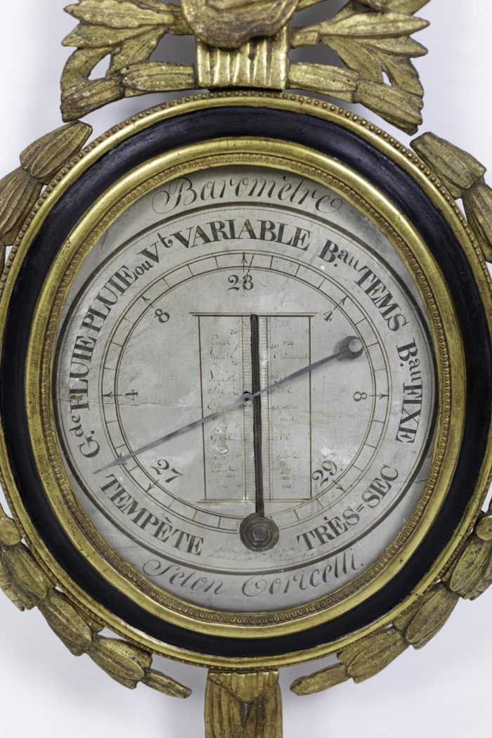 louis xvi barometer black lacquered wood gilt stucco dial
