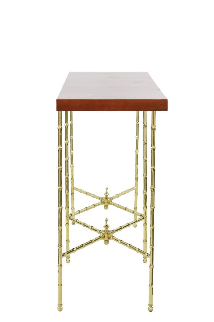 bernard dunand console laque rouge chinoisante bronze doré side
