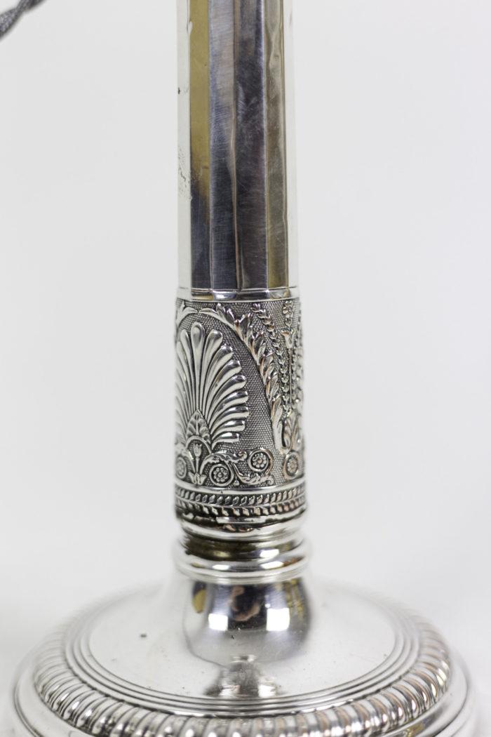 bougeoirs style directoire métal argenté palmette