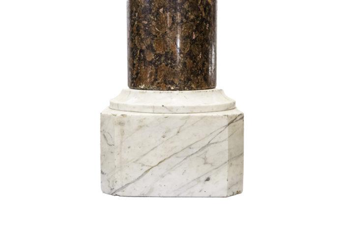 colonne marbre rouge brocatelle marbre blanc base