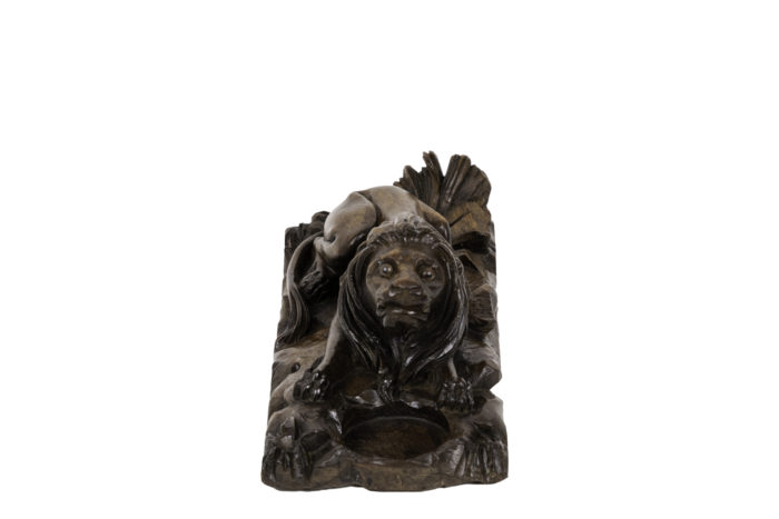 encrier noyer lion front