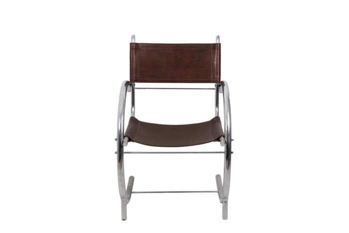 armchair chromed metal red leather 1930 front
