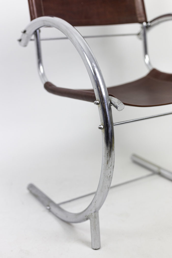 armchair chromed metal red leather arm