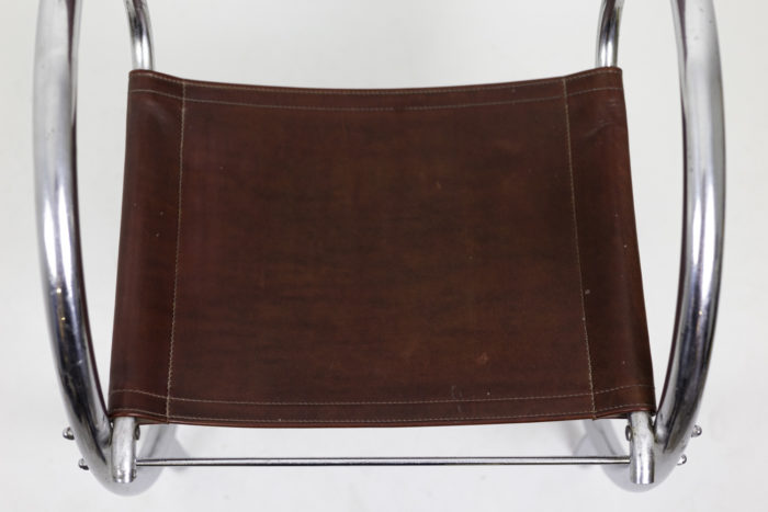 armchair chromed metal red leather seat