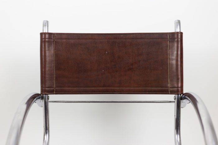 armchair chromed metal red leather back