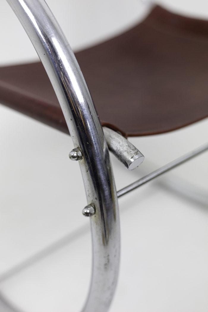 armchair chromed metal detail