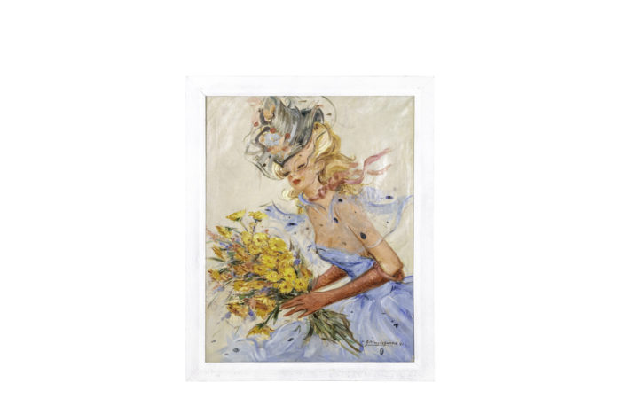 painted canvas elegant woman with flowers domergue style