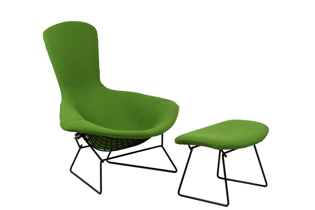 Harry Bertoia for Knoll, Bird armchair and ottomane, 1970's