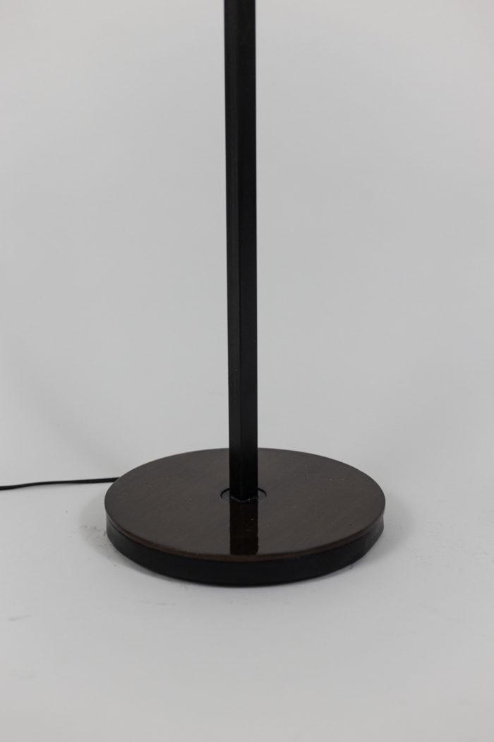 lampadaire résine granitée bois métal laqué noir base