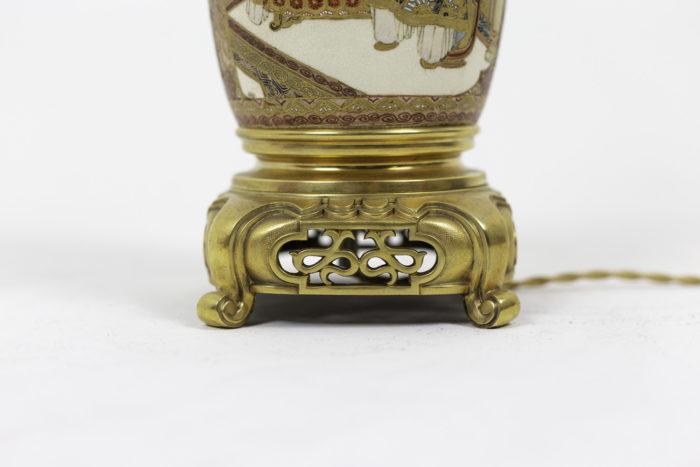 lamp satsuma earthenware gilt bronze base
