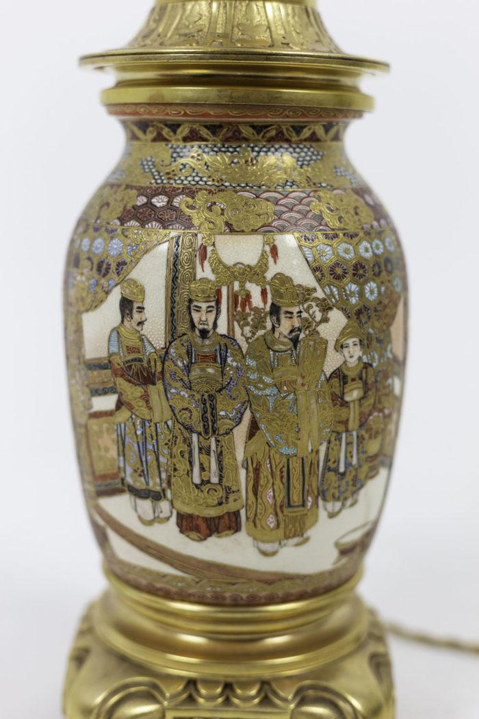 lamp satsuma earthenware palace scene