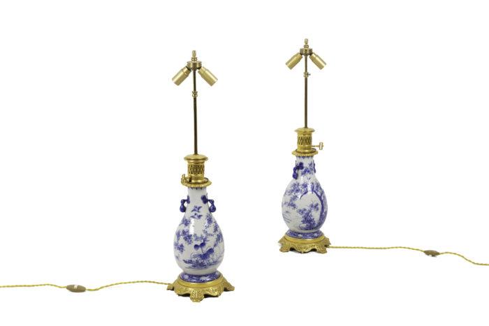 lampes faïence bleu blanc bronze doré é